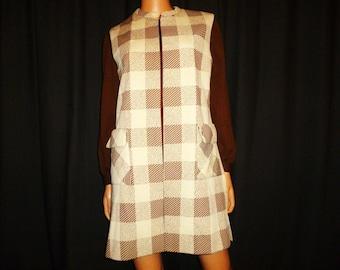 "BLOCK Out - Vintage 60's - R&K Knits - Brown - Color BLOCK - Mini - Mod - Go Go Girl - Shift - A-Line - Dress/Vest Set - 38"" bust"