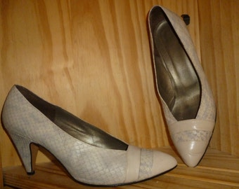 Vintage 80's - Python - Pump - shoes - by Amalfi made in Italy - Marked Size 8 1/2 B