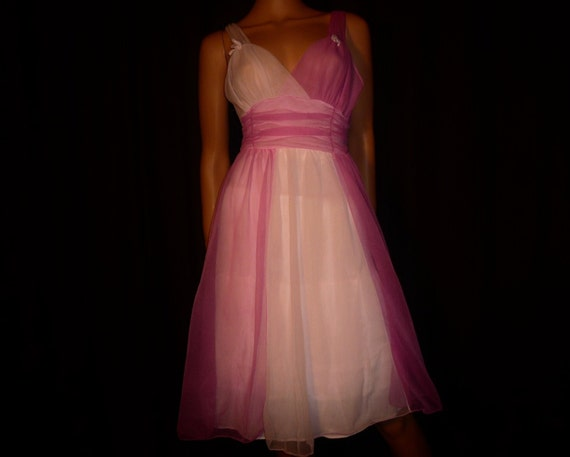 "SHEER and Now Vintage 50's or  60's SHEER Pink Nylon Empire Waist Nightie or Party Dress 32"" chest"