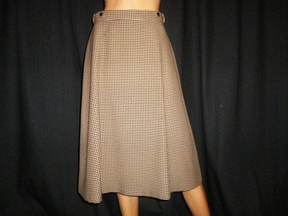 "CHECKS Please - Vintage 60's - Black - Beige - Brown - Check - Boho - Skirt - waist size 29"""