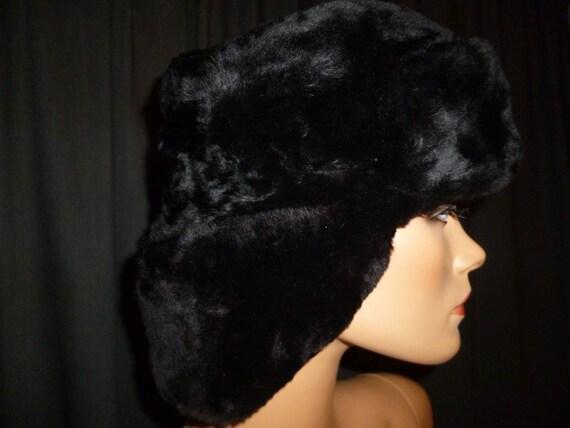 Russian Winter Vintage 70's Black Faux FUR Mink Ushanka Elegant Russian Style Hat