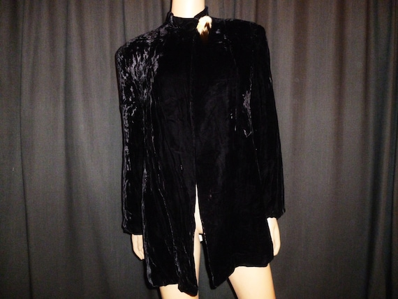 Reserved for Terri - Covered in Luxury - 20's - Black - Panne' Velvet - Ruched - Haute Couture - Art Deco - Coat - real Fur Trim Accent