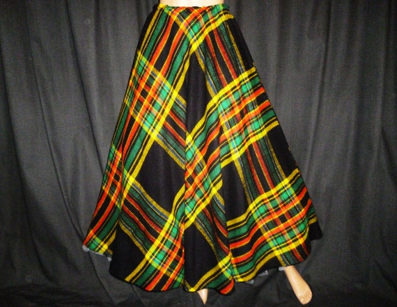 "Vintage 1950's - Full Circle - PLAID - Black - Red - Green - Yellow - Blue - Maxi - Skirt - waist size 26"" - 31"""