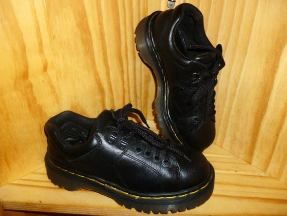 CHUNKY Punky Vintage 80's or 90s Unisex Dr. Martens AirWair Black Leather CHUNKY Heel shoes made in England marked UK 4