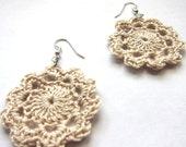 Crochet Doily Earrings - cream