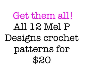 HALF PRICE 12 Crochet Patterns - mittens, hat, scarves, iPod cover, and more. Permission to sell finished products.