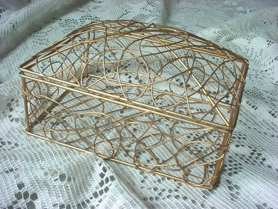 GOLD / COPPER WIRE BOX BASKET DOME HINGED LID Storage Gifts