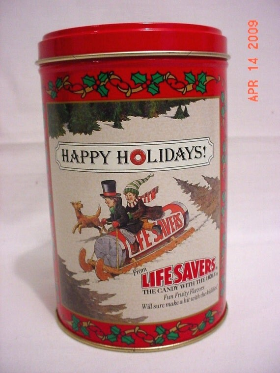 CLEARANCE  Vintage Lifesavers Holiday Keepsake Tin Canister 1988 Limited Edition Planters