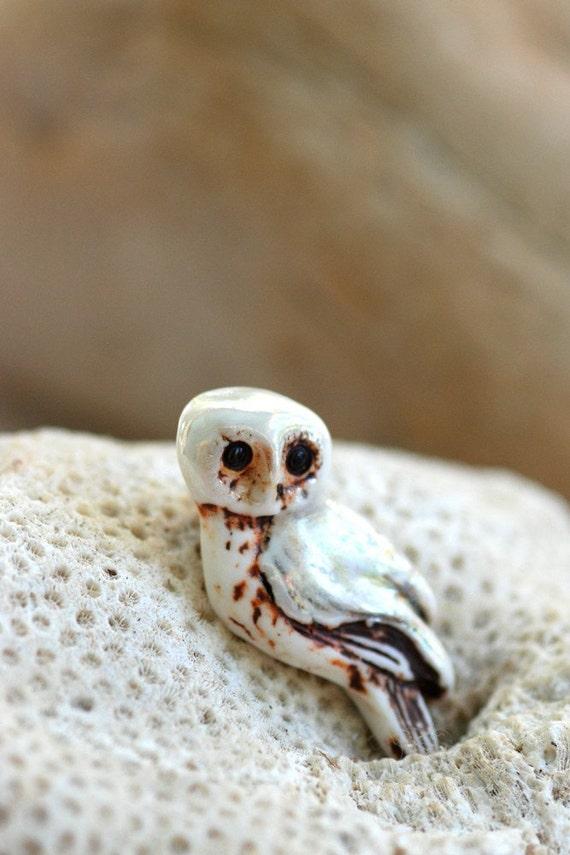 Snow White Owl- Porcelain Bead Pendant