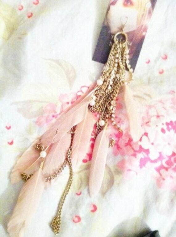 Fancy Flamingo Feathers Earring