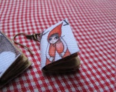 Red riding Hood, mini book earrings