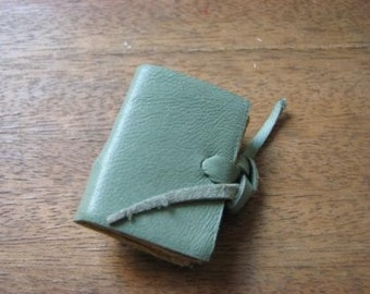 mini book brooch, leather