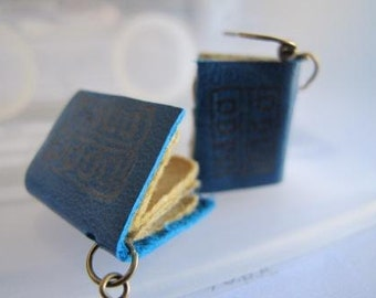 Blue leather mini journal earrings