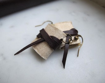 mini book earrings, vintage american fabric and leather