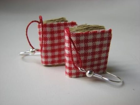 Mini book earrings- white and red