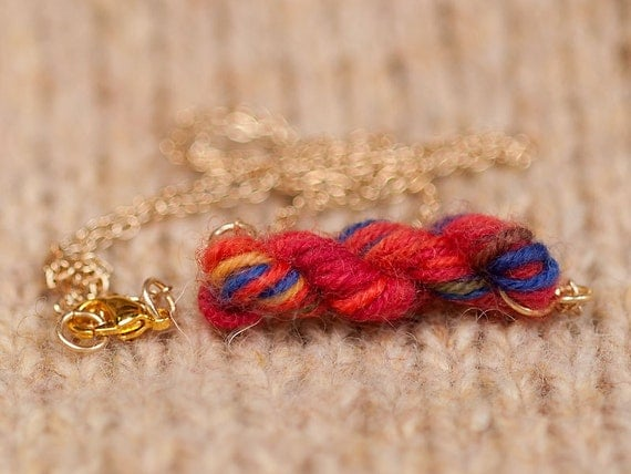 Rainbow Reds Skein of Yarn Necklace