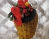 Swell Dame vintage inspired fascinator headpiece with red birds winter fruits and veilling