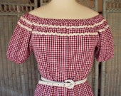 1950s style/ reproduction / gypsy / peasant  /plaid / blouse / many colors / ALL SIZES
