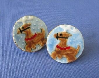 Reindeer Earrings Handmade Porcelain Christmas Jewelry