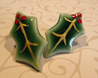 Green Holly Porcelain Christmas Earrings Handmade