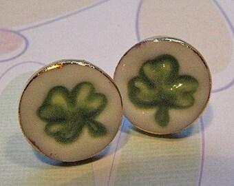 Shamrock Porcelain Post Earrings