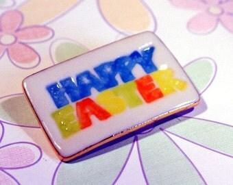 Happy Easter Porcelain Brooch