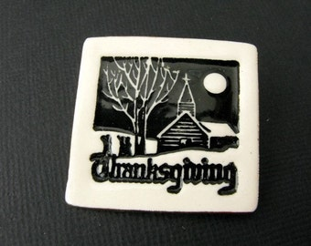 Thanksgiving Brooch Handmade Porcelain Jewelry Ceramic Pin