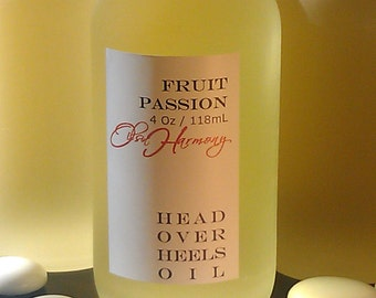 Body Oil - FRUIT PASSION (Tropical Passion) 4 oz Frosted Glass Bottle