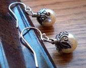 White Pearl and Leaves Earrings Sterling Silver - Ivy Collection in White