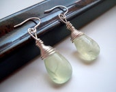 Green Tourmalinated Quartz and Sterling Silver Earrings - Beautiful Disaster
