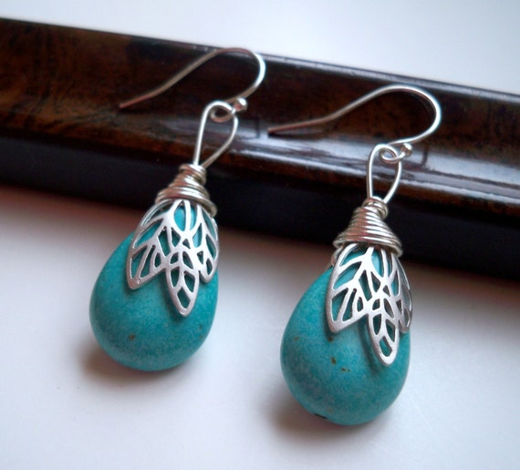 Turquoise and Silver Leaf Bead Cap Earrings - Dakota Sky