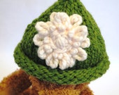 Green Baby Hat with White Flower - Hand Knit - Machine Washable