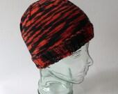 Knit Halloween Hat - Orange & Black  - machine washable
