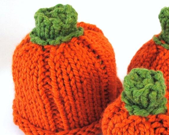 Knit Pumpkin Hat for baby - Orange w/ green stem - machine washable