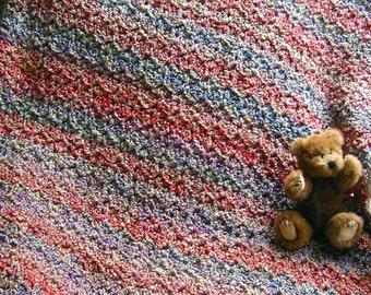 new baby blanket afghan wrap shawl crochet knit toddler lion homespun yarn QUARTZ lavender blue green variegated ultra soft made in the USA