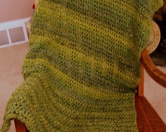 new shawl wrap prayer afghan chemo lion brand homespun yarn ultra soft PESTO green crochet knit handmade in the USA