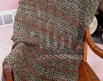 new shawl wrap crochet knit prayer afghan chemo lion brand homespun yarn ultra soft MEDITERRANEAN olive tan handmade in the USA