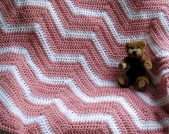 new chevron zig zag baby blanket afghan wrap shawl crochet knit toddler crib lap ripple stripes VANNA yarn pink white handmade in the USA