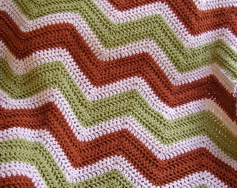 new chevron zig zag baby blanket crochet knit baby afghan lap wheelchair ripple stripes lion VANNA WHITE yarn rust beige green handmade USA