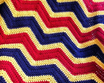 new chevron baby blanket afghan crochet wrap wheelchair ripple stripes VANNA WHITE yarn red gold navy patriotic military USMC marine