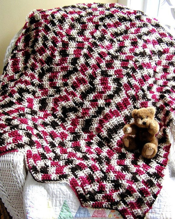 new chevron zig zag baby blanket toddler afghan wrap lap robe chocolate berry variegated ripple crochet handmade in USA