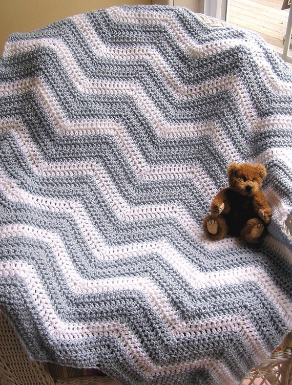 crochet chevron zig zag baby blanket afghan wrap shawl knit toddler ...