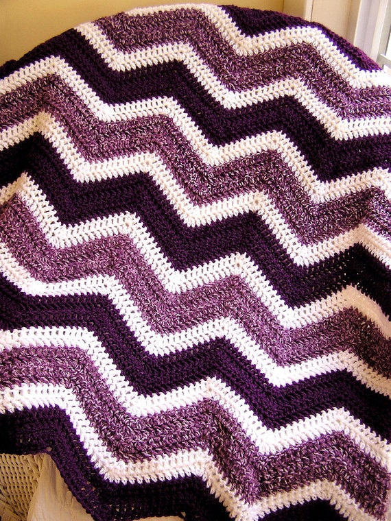 chevron zig zag baby blanket crochet knit afghan wrap lap wheelchair ...