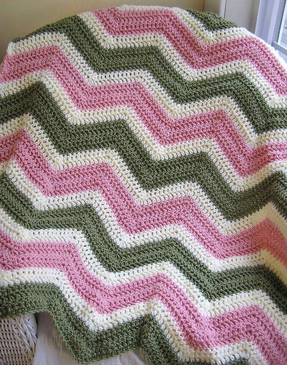 new chevron zig zag baby blanket afghan wrap crochet knit lap robe wheelchair ripple stripes VANNA WHITE yarn green pink lamb handmade USA