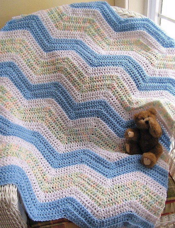chevron zig zag crochet baby blanket afghan wrap toddler ripple blue ...