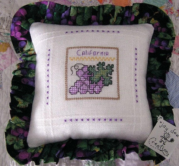 new pillow throw decorative california grapes wine country napa valley counted cross stitch anne cloth embroidery handmade AMERICA