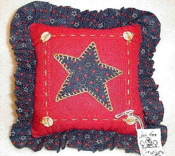 new throw  decorative pillow USA patriotic military americana folk art primitive red white blue home decor applique star handmade in USA