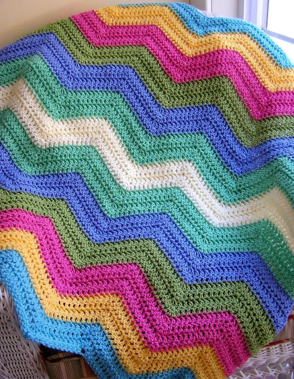 Chevron Zig Zag Baby Blanket Afghan Wrap Crochet Knit Lap