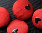 The Duchess Black on Red Silk Buttons