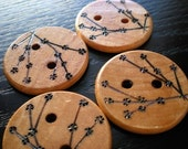 Cherry Blossom Wooden Buttons Large Woodburning
